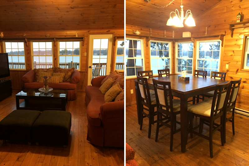 Waterfront cottage rental on seymour lake trent severn system for Dining room jockey hollow