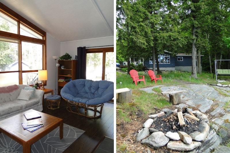 Hesners Lake Cottage Rental near Bala on Living Room Fire Pit id=81660